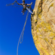 Female climber clinging to a cliff. — 图库照片
