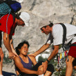 Injured climber being rescued. - Stock Photo