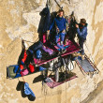 Rock climbing team bivouaced on a bigwall. — Stock Photo #7314167
