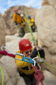 High angle rock climbing rescue. — Stock Photo
