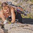 Female rock climber. — Stock Photo