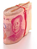 Wad of chinese yuan — Stock Photo
