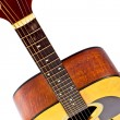 Details fingerboard 6 strings acoustic guitar classical — 图库照片