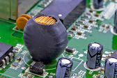 Coil and capacitor in the input of the network switch — Stock Photo