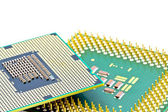 SMD components on bottom of the new and old processors — Stock Photo