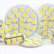 Various LED bulbs with 3-chip SMD LEDs - Stock Photo