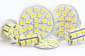 Various LED bulbs with 3-chip SMD LEDs — Stock Photo