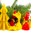 Christmas still life with candles from beeswax - Stock Photo