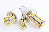 Three LED bulbs with 3-chip SMD LEDs — Stock Photo