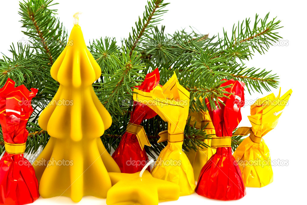 Christmas still life with candles from beeswax  Stok fotoraf #7725216