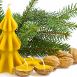 Christmas still life with candles from beeswax and walnuts — Stok fotoğraf