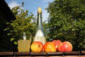 In the garden - fresh homemade cider — Stock Photo