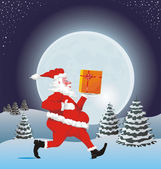 Running santa with a gift — Stockvector