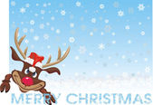 Red nosed reindeer - christmas card — Vettoriale Stock
