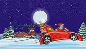 Crazy santa in convertible and surprised reindeer — Vector de stock