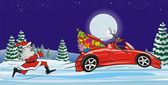 Reindeer fleeing from santa claus - christmas scenery — Stock Vector
