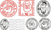 Postmarks - merry christmas — Stockvector