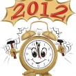 Stock Vector: Alarm ring and new year 2012