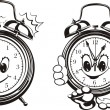 Two alarm clocks - black & white — Stock Vector