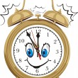 Alarm clock - smiling clock face — Stock Vector #7697669