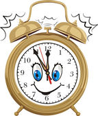 Alarm clock - smiling clock face — Stock Vector
