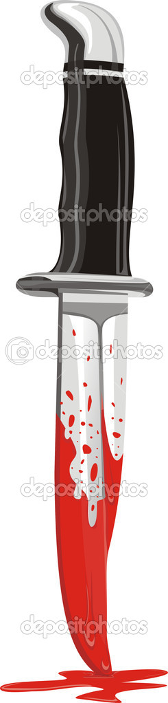 Bloodied knife blade with blood splashed, crime of passion — Stock Vector #7717357