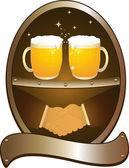 Iki bira bardağı ve karşılıklı — Stok Vektör