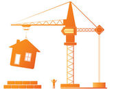 Construction crane and building — Stock Vector