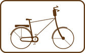 Brown bike on white background in frame — Stock Vector