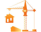 Construction crane and many houses — Stock Vector