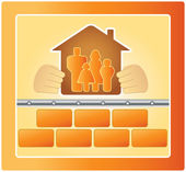 Family in the warm house — Stock Vector