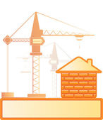 Brick house and construction crane — Stock Vector