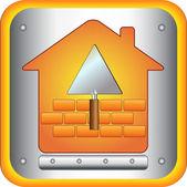 Trowel and bricks house — Stock Vector