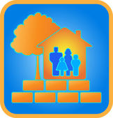 Home, family, brick and wood — Vector de stock