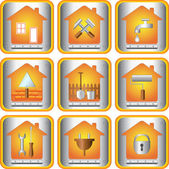 Set icon with tools for house — Stock Vector