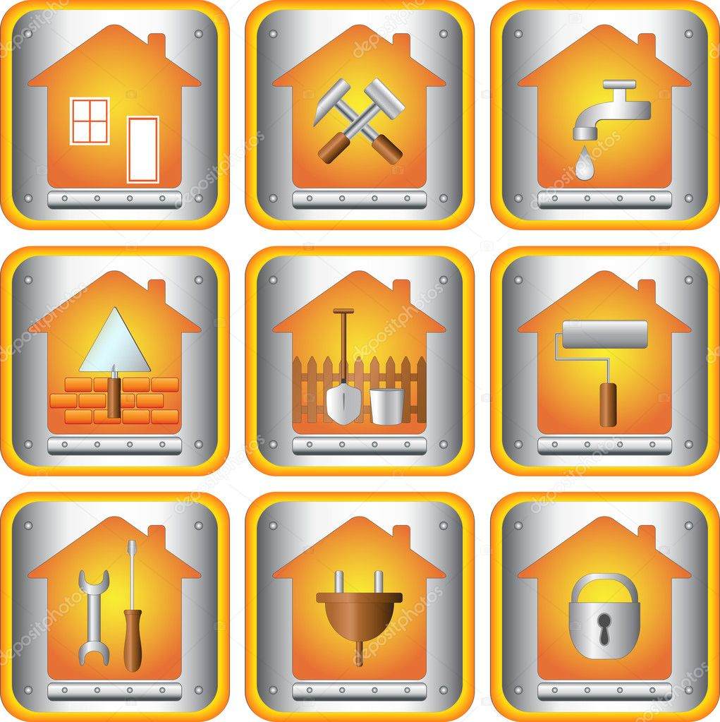 The set icons with tools for house — Stock Vector #7068853