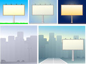 Set of billboards and urban silhouette — Vector de stock
