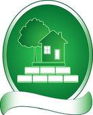 Rich, albero e casa verde — Vettoriale Stock