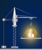 Construction crane and golden house — Vector de stock