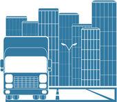 Camion nella città moderna — Vettoriale Stock