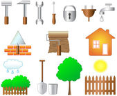 Set of objects for home work — Stock Vector