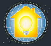 House and lamp with planet — Stock Vector