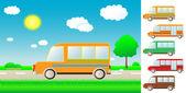 Set cartoon bus on the road — Stock Vector
