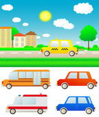 Set cars with nature landscape and city — Stock Vector