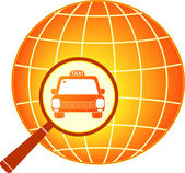 Symbol international taxi with planet — Stock Vector