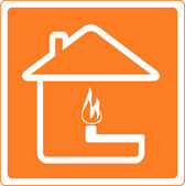 Sign of fire and gas in house — Stock Vector