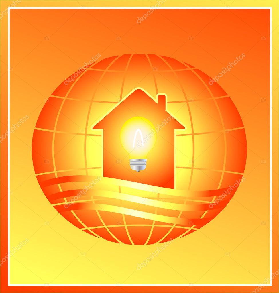 Electricidad en casa moderna silueta vector de stock for Casa moderna vector