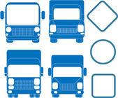 Blu set di camion e autobus — Vettoriale Stock