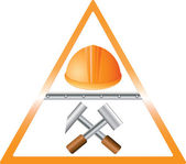 Bright sign with helmet and hammers — Stock Vector