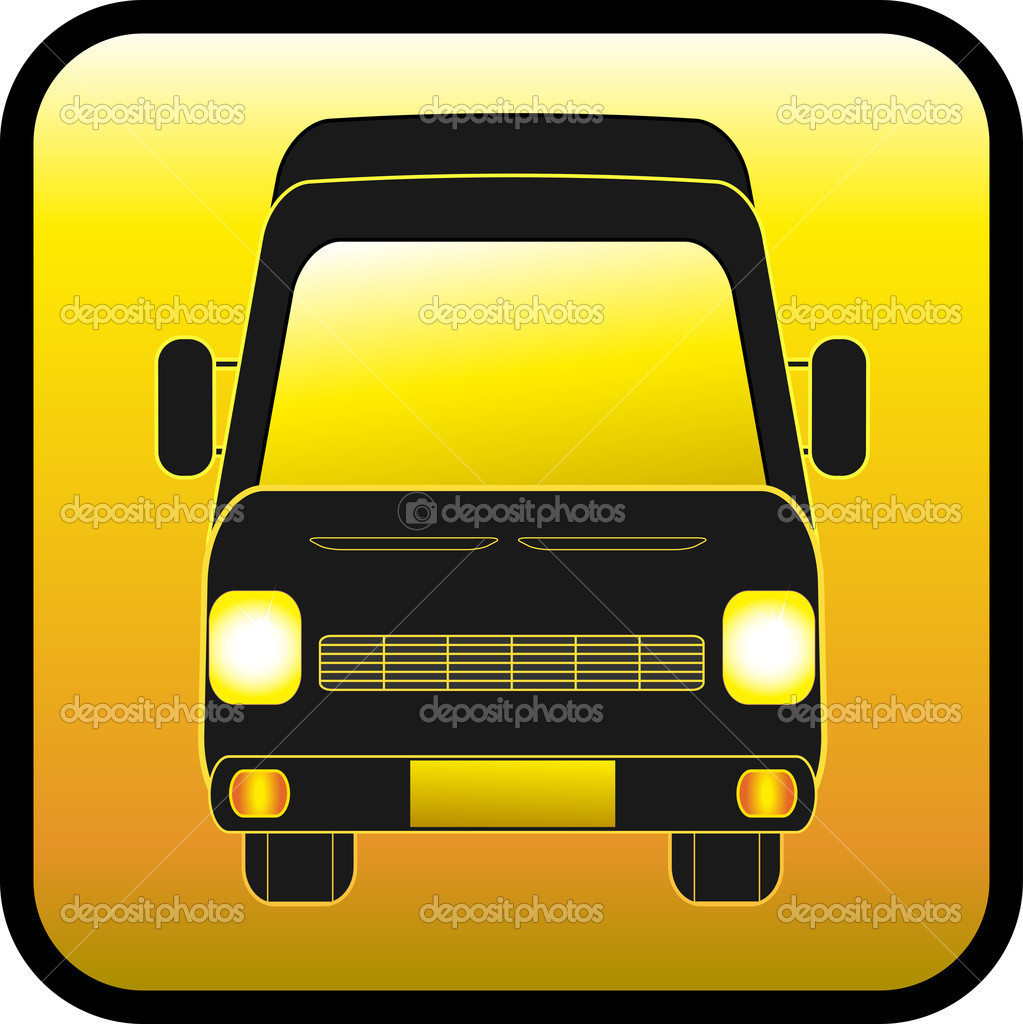 Yellow glass button with mini bus silhouette — Stock Vector #7868501